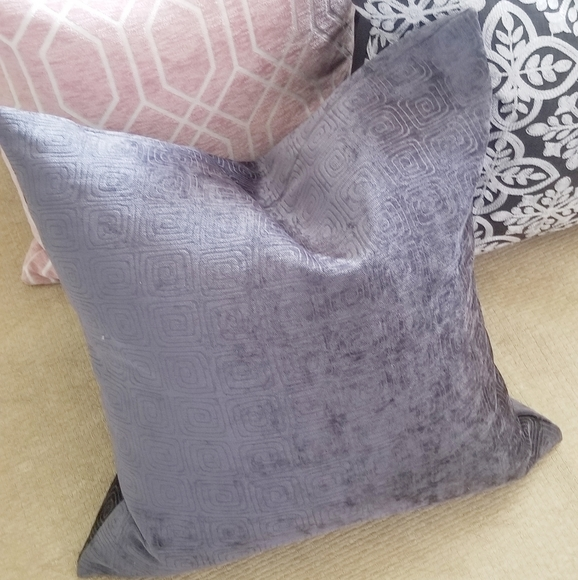 Charcoal gray geometric chenille feather pillow